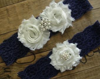 Something Blue / Navy Blue Wedding Garter / Wedding Garter / Bridal Garter / Toss Garter / Vintage Inspired / Lace Garter