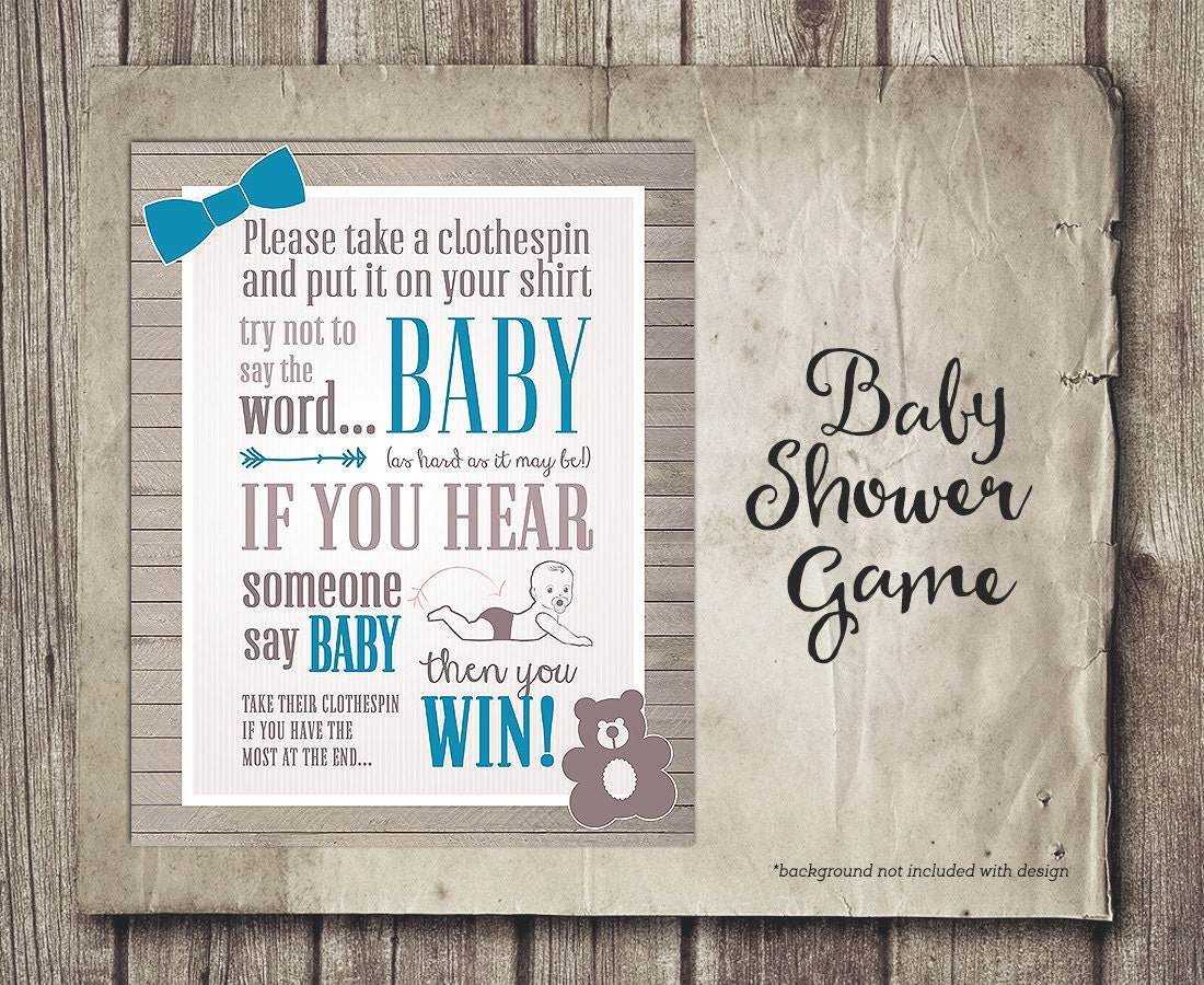 dont say baby shower game sign boy blue tie shower