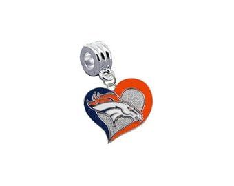 "Denver Broncos ""Swirl Heart"" Football European Charm for Bracelet, Necklace & DIY Jewelry"