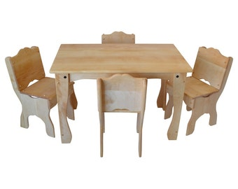 Children's Heirloom Hardwood  Downeast Cottage Table And 2 Chairs Set by Elves and Angels-Wooden Table And Chairs-Solid Hardwood