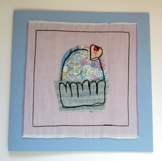 Applique card stitched greeting freestitch