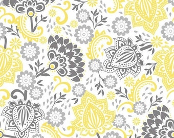 Extra 25% off 2/3 yard Evening Blooms by Carina Gardner for Riley Blake yellow/gray flower
