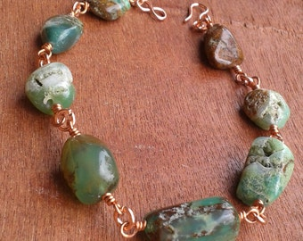 Green Chrysoprase Gemstone Bracelet, Copper Wire Jewelry, Crystal Healing, Uncovers Truth, Bright Green Stones