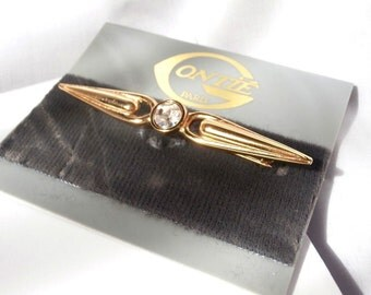Gontie Paris Signed Pin Brooch  Gold Plated  with Crystal  (D)