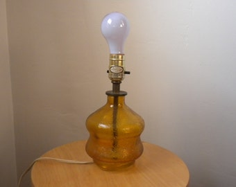 Mid-Century Amber Glass Lamp