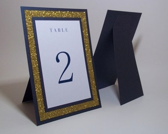 "Navy and Gold Table Numbers - Navy Blue Shimmer, Gold Glitter and WhiteTable Numbers - 5""x7"" Free-standing - Wedding, Party"