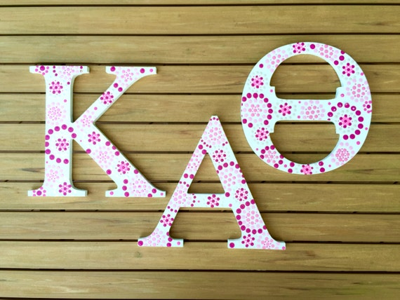 kappa alpha theta sorority wall art greek letter wall decor blue and white dot