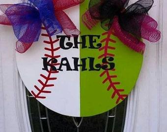 Baseball/Softball Personalized Decorative Door Hanger
