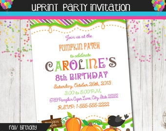 Pumpkin Patch Halloween Fall Autumn Birthday Party Invitation