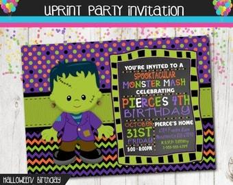 Frankenstein Monster  Halloween Birthday Party Invitation - Fall - Autumn