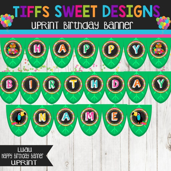 Luau Happy Birthday Banner With Name