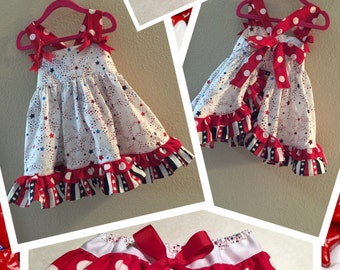 Adorable Girls Patriotic Sundress & Ruffle Butt Bloomers with Matching Bow