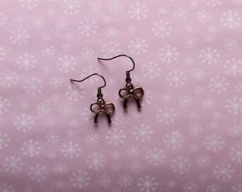 Brown Bow Earrings
