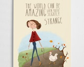 Quirky art print, poultry poster, girl and hen illustration // Slightly Strange