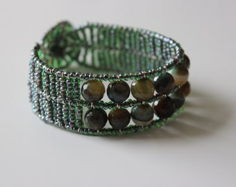 GREEN AGATE BRACELET * handmade beaded bracelet * one of a kind, perfect for gift!