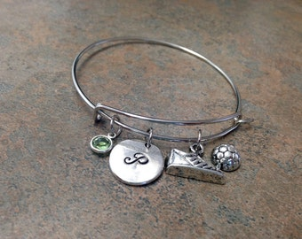 Soccer Charm Bracelet, Initial Charm Bangle, Stamped Bracelet, Personalized Jewelry, Monogram, Hand Stamped, Alex and, Gift for Her, Sports