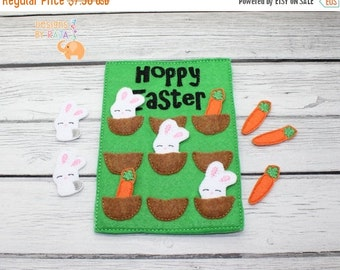CIJ Christmas in July Easter Tic Tac Toe game embroidered, board game, activity, travel game, easter, bunny rabbit, quiet game, busy bag, fe