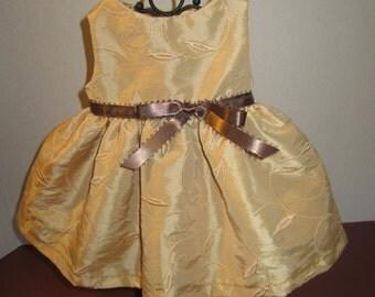 Gold embroidered taffeta dress