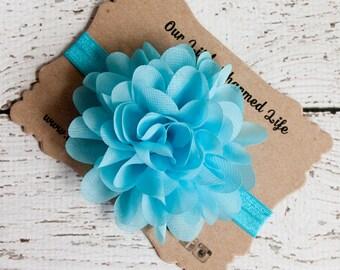 Blue Headband, Easter Headband, Blue Toddler Headband, Blue Flower Headband, Baby Headband, Newborn Headband, Turquoise Headband