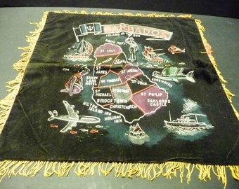 """Final Clearance~Barbados """"Island in the Sun"""" souvenir velvet pillow case"""