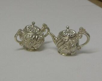 1:12 scale miniature silverware and tea set