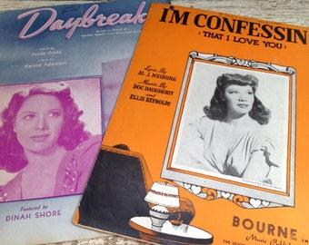 Vintage Dinah Shore Sheet Music, Daybreak, I'm Confessin That I Love You, Music Ephemera
