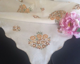 Vintage Mid-Century Embroidered Linen Tablecloth w/ Harvest Colors