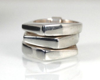 Stacked Slave Ring Sterling Silver Angular Rings - Size 8.5