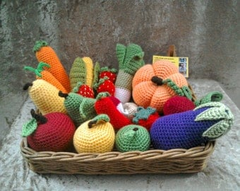 26pc Play food set, crochet pretend food, pretend play crochet vegetables, Montessori toys, tactile toys, play kitchen food, nursery decor