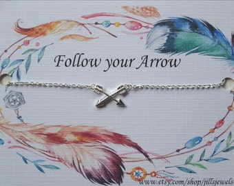 Friendship Necklace, Graduation Gift, Best Friend Necklace, Long Distance Best Friend, Arrow Charm Necklace, Follow your Arrow Inspirational