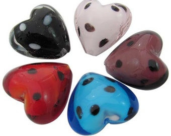 5pc Dotted Hearts,  Handmade Lampwork Beads