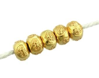Karen Hill Tribe silver Gold vermeil OM Printed Hallow Ball Bead, 5.5 mm