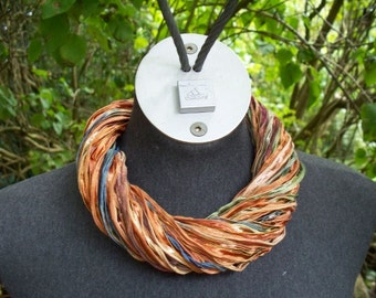 Yarn Strand Necklace-Tan and Blue