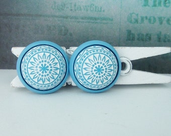 Earrings Studs mosaic ornament turquoise