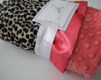 Animal Print, Leopard - Cheetah Print with Coral Minky Dot - Crib Bedding, Throw, Nursery, Baby Shower, Stroller Blanket