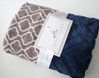 Solid Navy Chevron and Gray Lattice Print Minky Blanket, Baby Boy or Girl, Baby Shower, Nautical, Cowboys, Crib Bedding