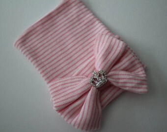 Pink and White Stripe Newborn Beanie Hospital Hat with Pink and White Bow & Rhinestone Crown Accent, Baby Girl, Cotton, Princess, Keepsake