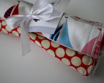 Baby Girl Burp Cloths - Sailboats, Polka Dots, Anchors - Burp Pads, Cotton and Chenille - Shower Gift, Pink, Blue, Navy, Polka Dots, Gold
