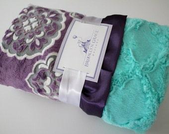 Mar Bella Minky Blanket in Barcelona Violeta, Gray and Medallion Print with Aruba Lattice on Back, Eggplant Satin, Baby Shower, Crib Bedding