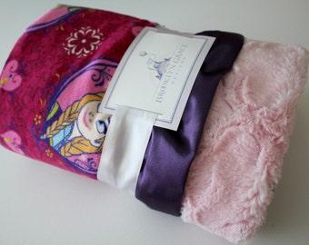 Disney Inspired Frozen Sisters with Baby Pink Lattice and Eggplant Purple Trim Minky Baby Blanket - Elsa, Anna, Girl, Crib Bedding