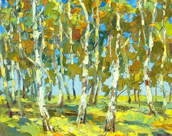 Birch forest OIL PALETTE KNIFE on canvas Painting by Dmitry Spiros. 32x32 in. 80 x 80 cm