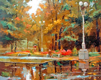 Early autumn OIL PALETTE KNIFE on canvas Painting by Dmitry Spiros. 40x40 in. 100 x 100 cm