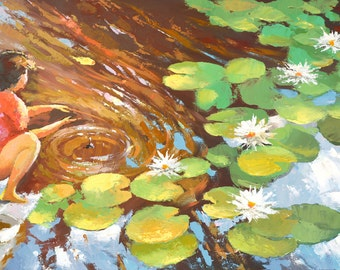 Girl and Pond OIL PALETTE KNIFE on canvas Painting by Dmitry Spiros. 28x40 in. 70 x 100 cm