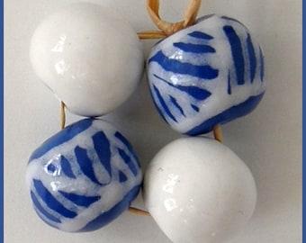 Okawa Ceramic blue and white patterned beads