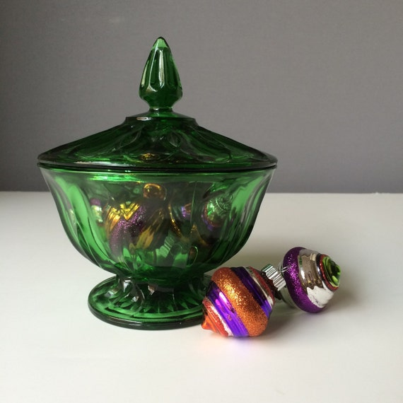 Emerald Green Indiana Glass Candy Dish, Vintage Home Decor