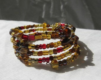 Autumn Mix Memory Wire Bracelet
