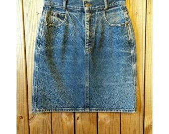 Vintage Calvin Klein Denim Skirt xs/s- 80s Calvin high waist skirt