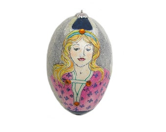 Christmas Ornament with Angel Hand Painted Goose Egg Christmas Ornament