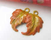 Fall Shades Altered Brass Leaf Charm Pair  AM15-012E