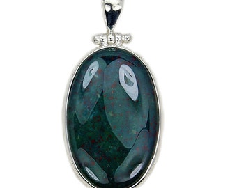 Large Rare Natural Bloodstone & .925 Sterling Silver Pendant , Ad934